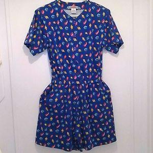 Vintage Fads blue shell shorts romper playsuit